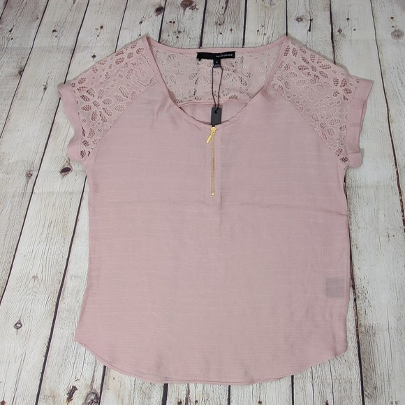 Harvé Bernard Blush Lace Detail Short Sleeve Top
